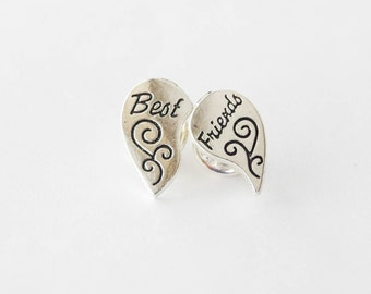Best Friends Pins,  Best Friends Pin Set, Best Friends Heart, Best friends Lapel Pins, 2 Tie Clips, BFF Gifts, Best Friends Gift, BFF Gifts