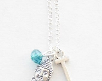 Tibetan Necklace, Tiny Buddha Necklace, Charm Necklace, Silver Necklace, Zen Necklace, Yoga Jewelry, Birthstone Necklace, Birthstone Gift