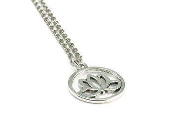 Lotus Flower Necklace Silver Chain