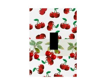 Cherry Light Switch Plate Cover Retro kitchen wall art red Cherries Wall art Cherrie Home Decor Fruit Print Plate Covers Lighting Artwork