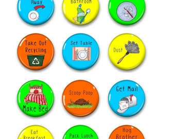 Chore Chart Magnets Primary Colors - Chore Chart Magnets - Chores Magnet- Chores - Magnetic Chore Chart - Chore Chart - Chore Charts