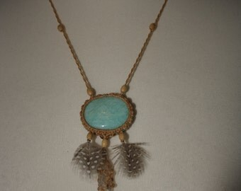 light macrame neclace with amazonite, rock crystall and guineafowl feathers