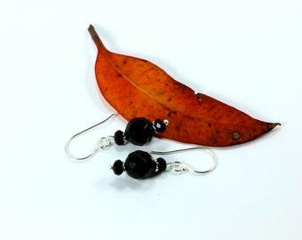 Black Agate Earrings, Sterling Silver Earrings, Silver Earrings, Gemstone Earrings, Black Dangle Earrings, Swarovski Earrings