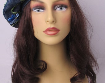 Denim Beret with Ribbon Embroidered Flowers