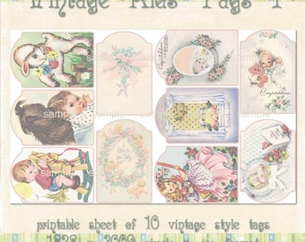 Vintage Kids CS Tags 1 - Printable Sheet of Tags for Scrapbooking and Paper Crafts