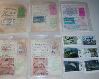 Vintage Fishing Licenses, Trout Stamps, Duck Stamp, Migratory Bird Hunting Stamp California & Nevada