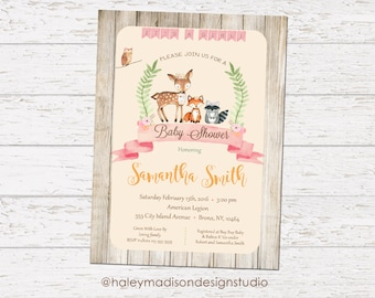 Woodland Baby Shower Invitation, Rustic, Whimsical, Girl DIGITAL FILE