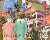 Rabbits, collage, Mixed Media, Original, Anthropomorphic, animal art.  The Uninvited (Tiny Tale Art)