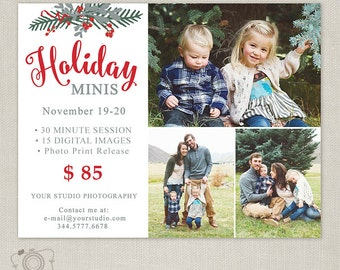 Holiday Mini Session Template - Photography Marketing Board - Holiday Minis - Photoshop Template for Photographers 102, INSTANT DOWNLOAD
