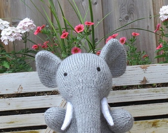 Eve the Hand Knit Toy Elephant Knitted Toddler Baby Stuffed Animal
