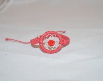 Red Hemp Macrame Rose Dream Catcher Bracelet, Adjustable, Hemp Bracelet, Hemp Cords, Hemp Jewelry