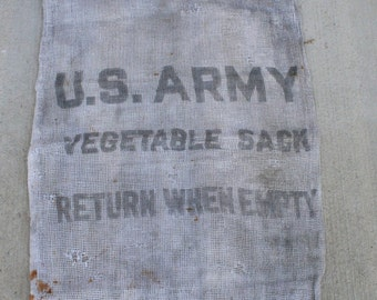 Vintage US Army Vegetable Sack, Military Vegetable Bag, Military Burlap Bag
