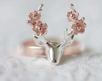 Flower deer ring, rose gold deer ring, antler ring, flower ring, animal ring, rose gold jewelry, silver ring, gift for her, bridesmaid gift