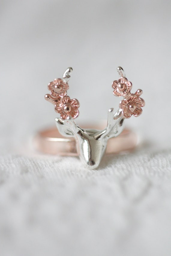 flower deer ring gold deer ring antler ring flower
