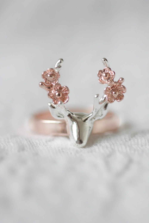Flower deer ring rose gold deer ring antler ring flower