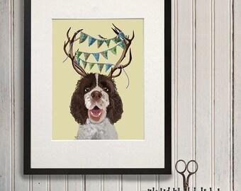 Brown Springer Spaniel Spaniel Antlers  funny dog cute dog gift for dog lovers Springer Spaniel poster Springer Spaniel art anniversary gift