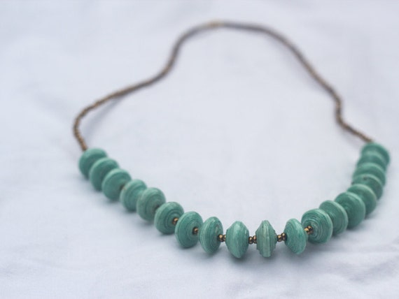 Mint and Gold Paper Bead Necklace-Short