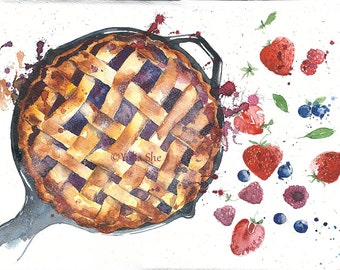 Original watercolor painting pie kitchen decor 10x13 handmade wall decor