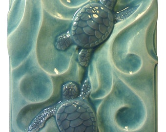 Sea turtles, Twins, 4x 5 inches, art tile