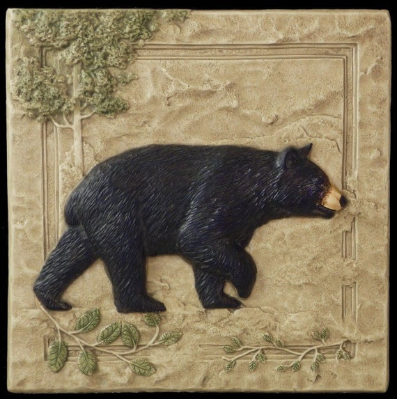 home decor black bear right ceramic art by medicinebluffstudio