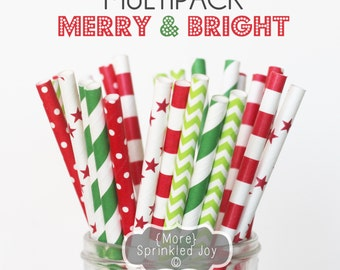 MERRY & BRIGHT Paper Straws, Green, Red, Party, Multipack, Christmas Straws, Chevron, Dots, Stripes, 25 Straws, 5 Designs