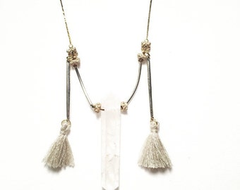 SALE-Mahal Necklace with Double Pointed Quartz Crystal, Taupe Tassels, Turkish Beads, and Vintage Brass Chain