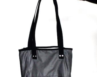 Reversible Gray Canvas Tote Bag - Durable Shoulder Bag