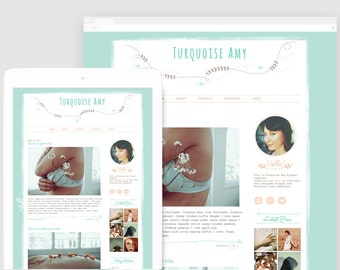 Responsive Blogger Template - Premade Blog Template - Blog Design - Hand Drawn -  Peach and Taupe - Turquoise Amy