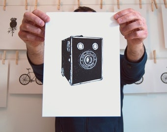 Kodak Brownie Camera art - camera linocut print, retro camera print, vintage camera wall art