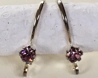 Light Amethyst Rhinestone Leverback Earrings Silver Plated Ear Wire DIY Earring Supplies