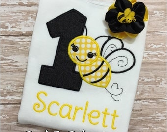 Custom Embroidered Bumble Bee Birthday Shirt & Bow, Any Age Bumble Bee Bodysuit/Shirt and Headband, Girls Birthday Outfit, 1st Bee Day, Set