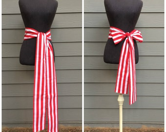 READY TO SHIP - Wide Cotton Pirate Sash - Red and White Striped - Costume Belt Tie