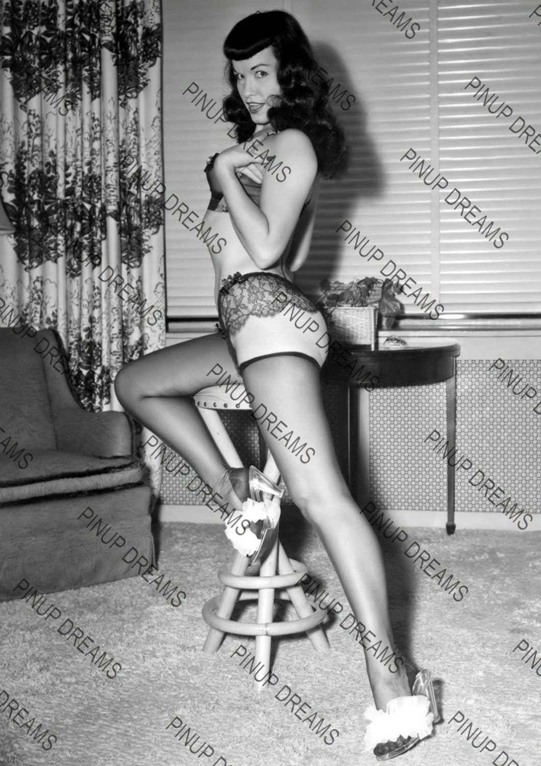 vintage photo poster wall art print of lovely bettie page. Black Bedroom Furniture Sets. Home Design Ideas