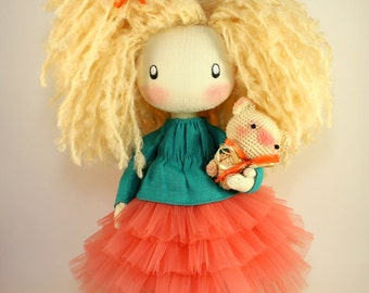 CUTE DOLL  - Pauline made to order  beige textile cloth doll gift for her