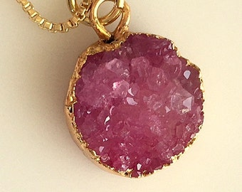 Minimalist Small Rose Pink and Lavender Gold Electroplated Druzy Pendant Necklaces - Round and Square
