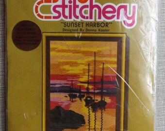 Vintage Jiffy Stitchery Picture Sunset Harbor Donna Kooler Design Fits 5 by 7 Inch Frame 1976 Kit  #835 Never Opened