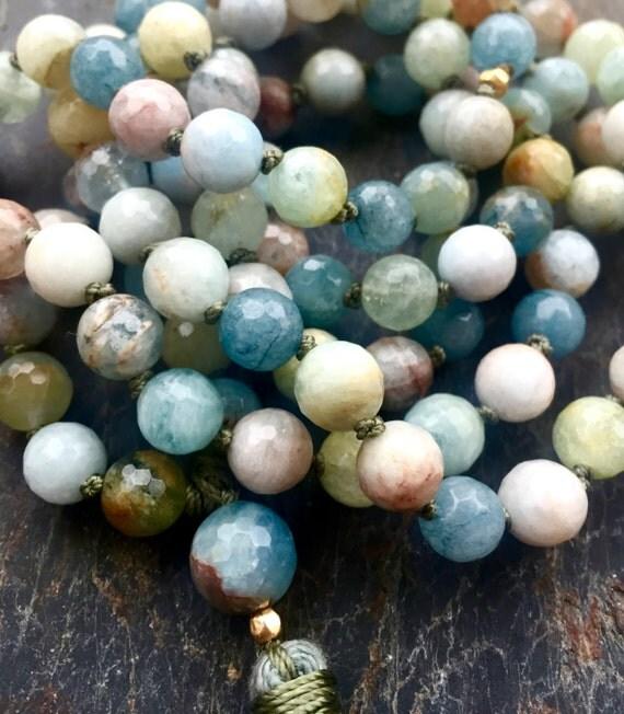 Aquamarine Mala Beads, 18K Gold , Throat Chakra , Heart Chakra Mala Beads , 108 Mala Beads, Chakra Jewelry,  Communiction