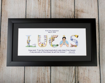 First Holy Communion Gift for Boys and Girls - Personalized Christian Gift - Name Art with 10x20 frame