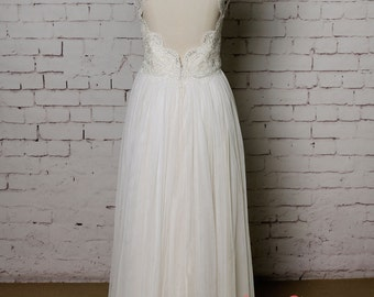 High Collar Wedding Dress with Cap Sleeves Champagne Underlay Wedding Dress with Keyhole Back