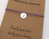 Friendship Bracelet FEATHER Hand Stamped silver disc ~ Waxed Cotton Cord ~ Friends are the family you choose ~ adjustable choose a color