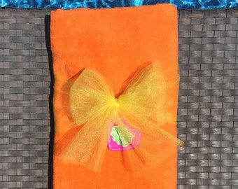 Orange Personalized Monogrammed Velour Cotton Beach Towels, Pool Towels and Bath Towels
