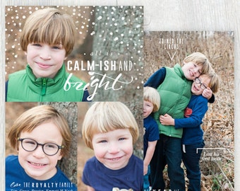 Printable Christmas card with photos - All is calm-ish - Handdrawn feel - Family facts - Photo holiday card - Customizable