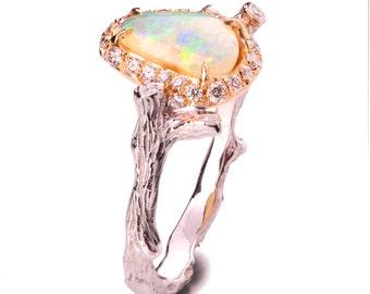 Twig Opal Engagement Ring, Opal engagement ring, Unique Engagement ring, 18K Rose Gold Opal ring, Twig Opal Ring, two tone Opal Ring