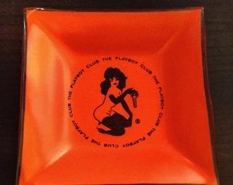 ON SALE - Antique Vintage Glass Orange Femlin Playboy Ashtray from the Playboy Club Circa 1960s