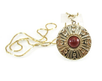 Vintage Sarah Coventry Pendant, Necklace, Safari, Red Cabochon, Gold Tone