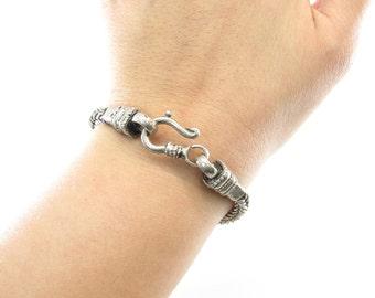 Vintage Byzantine Style Bracelet, Wheat Chain, Hook Clasp, Silver Tone?