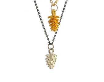 Gold and silver pinecone charm necklace