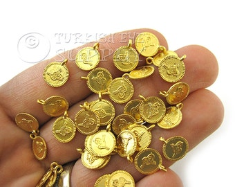 20 Mini Gold Coin Charms, Matte 22K Gold Plated Mini Ottoman Coin Replica Charms, Findings, Turkish Jewelry