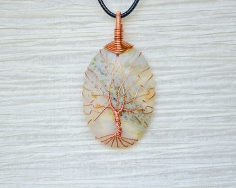 Tree of Life wire wrapped Jasper stone pendant