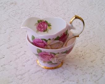 Queen Anne Pink Lady Sylvia Rose Floral Fine Bone China Cream & Sugar Set